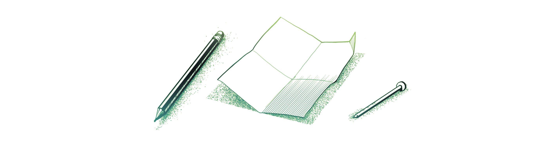 Pencil, nail and paper