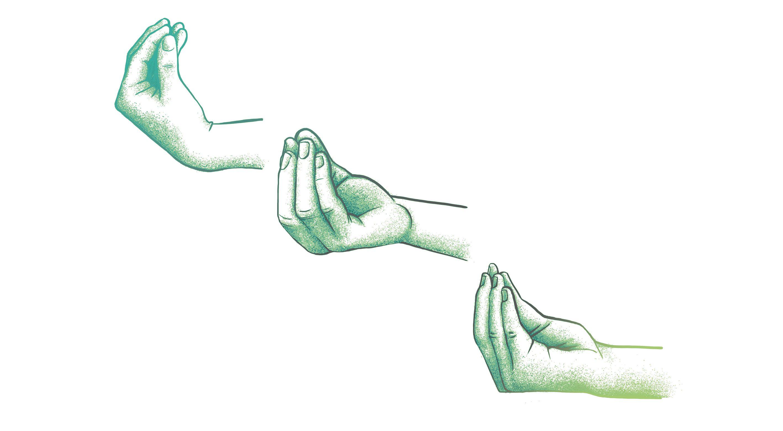 Three gesturing hands